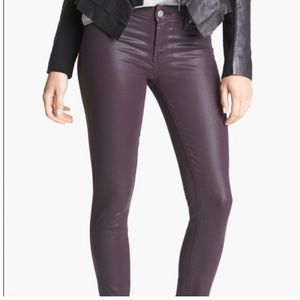 Paige Dark Purple Coated/waxed ankle jeans